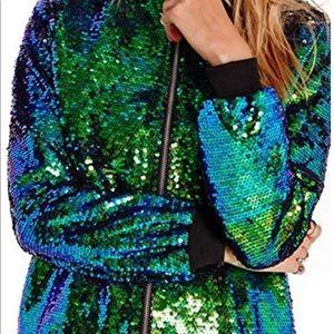 Jackets & Blazers - Mermaid Sequin Lightweight Zipper Bomber Jacket